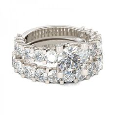 Round Cut Created White Sapphire Rhodium Plating Sterling Silver Women's Ring