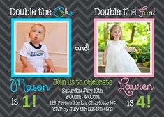 Joint Birthday Party Invitation Boy & Girl by PeriwinklePapery
