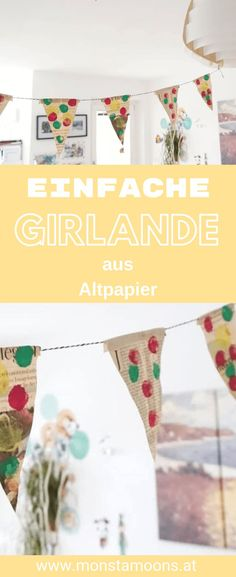 Make party garland from waste paper yourself - Making garlands of old paper yourself Make gilrande, Carnival, Carnival, Upcycling, Bastlen with pa - Crafts For Teens To Make, Diy For Teens, Diy And Crafts, Upcycled Crafts, Make Your Own, Make It Yourself, How To Make, Party Girlande, Waste Paper