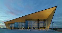 Image 19 of 19 from gallery of Owensboro-Davies County Convention Center / Trahan Architects. Photograph by Trahan Architects Factory Architecture, Facade Architecture, Auditorium Architecture, Auditorium Design, Roof Design, Facade Design, Parque Linear, Metal Cladding, Warehouse Design