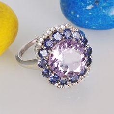Designer Amethyst, Iolite, White Topaz 925 Sterling Silver Ring Jewelry- Birthstone Jewelry- Purple Gemstone Ring - Best Christmas Gift Idea