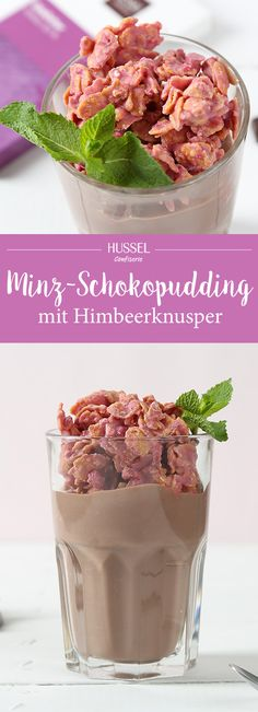 Minz-Schokopudding mit Himbeerknusper - Hussel Confiserie New Recipes, Vegan Recipes, Vegan Food, Slushies, Cereal, Food And Drink, Mint, Sweets, Cooking