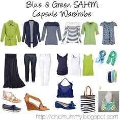 """Blue & Green SAHM Capsule Wardrobe"" by chicmummy http://chicmummy.blogspot.com. Maybe a darker green."