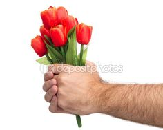 Man's Hand Holding Bouquet — Stock Image #81446592