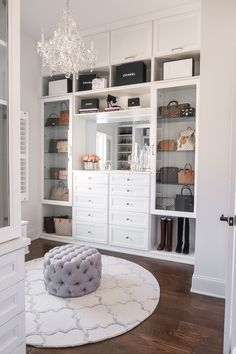 master closet with crystal chandelier Happy Friday, everyone! I'm so excited to FINALLY share my completed master closet renovation with California Closets today! Walk In Closet Design, Closet Designs, Master Closet Design, Dream Closets, Dream Rooms, Big Closets, Sala Glam, Closet Renovation, Closet Vanity