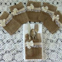 Set 6 Burlap Silverware Holders Pockets Rustic Wedding Bridal Shower Table Place Setting Dining Entertaining Farm House By Picadilly Market Burlap Crafts, Diy And Crafts, Burlap Silverware Holder, Table Place Settings, Bridal Shower Tables, Table Overlays, Burlap Flowers, Deco Table, How To Make Bows