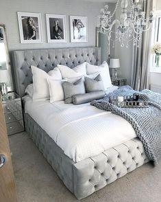 Home Decor Bedroom .Home Decor Bedroom Room Ideas Bedroom, Home Decor Bedroom, Glam Bedroom, Master Bedroom, Glam Bedding, Silver Bedroom Decor, Chanel Bedroom, Ikea Bedroom, Bedroom Bed