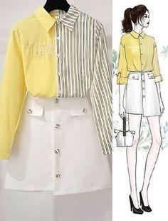 SEOULSUGAR Đầm Sơ Mi Kẻ Thắt Nơ - SeoulSugar Girls Fashion Clothes, Teen Fashion Outfits, Stylish Outfits, Korean Girl Fashion, Korea Fashion, Fashion Design Drawings, Fashion Sketches, Fashion Drawing Dresses, Mode Kpop