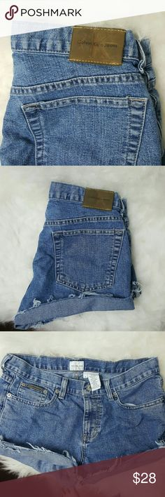 Calvin klein jean denim shorts high waisted Calvin klein jean denim shorts high waisted. CK jeans. Says sz 6. Probs fits like 4/6 so sz s/m :) distressed cut frayed bottom look. Jean jeans   Tags aa unif american apparel wrangler levis Calvin Klein Shorts