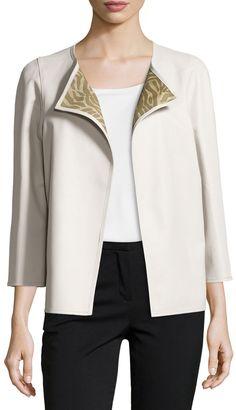 Lafayette 148 New York Three-Quarter-Sleeve Leather Jacket, Mist Multi #fashion #style #coat #leather