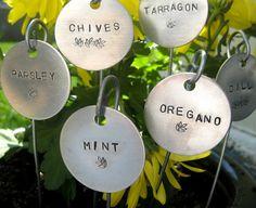 garden markers hand stamped 1-1/2 round.... qty 6 door monaco