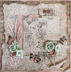 Premade Shabby Chic 12x12  Scrapbook Layout by LittleScrapShop