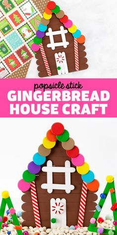 Popsicle Stick Gingerbread House - Learn how to make your own popsicle stick gingerbread house with our step-by-step directions, video, and free printable template. It's the perfect Christmas craft for kids!