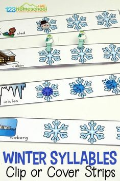 FREE Syllables Activity for Winter - this free printable winter syllables clip strips are a fun early literacy skill for preschool, kindergarten and first grade kids. #syllables #literacy #homeschooling #preschool #kindergarten #firstgrade