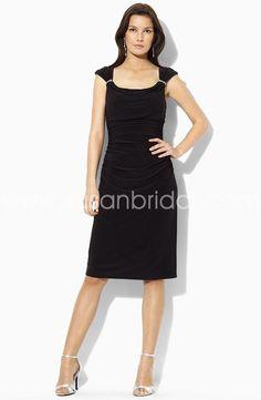 Elegant Black Sheath/Column Sleeveless Knee-length  Mother Of The Bride Dress