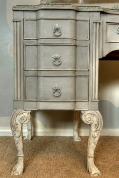 """Segreto Secrets Blog - Revamping Grandmother'sAttic: """"Acting as a vanity for the bedroom, this old mahogany dressing table of my grandmother's was painted in a two tone French style--giving the very formal piece a shabby chic look with a touch of a Prov"""