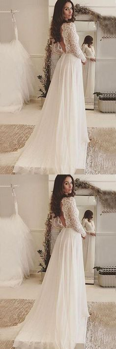 V-Neck Long Sleeves Backless Ivory Chiffon Wedding Dress with Lace WD153 #wedding #dress #fashion #lace #pgmdress