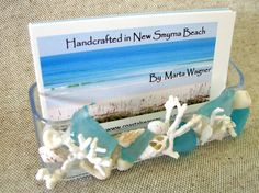 Coastal business card holder with turquoise sea glass, shells and coral