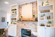 Built ins around fireplace.