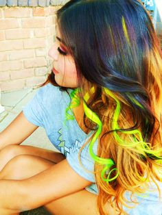 man i love these looks............................Electric Princess Neon Ombre Hair Extensions, Clip in Extensions,Human Hair Extensions. $30.00, via Etsy.
