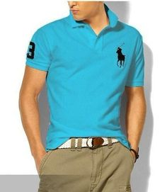 a75bc764ee76a Ralph Lauren Men s Classic Slim-Fit Big Pony Short Sleeve Polo Shirt Tron  Blue