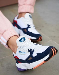 Adidas Shoes OFF!>> adidas Originals white and navy Falcon sneakers Sneaker Outfits, Sneakers Fashion Outfits, Fashion Shoes, Fashion Bags, Cheap Fashion, Pop Fashion, Affordable Fashion, Fashion Men, Fashion Watches