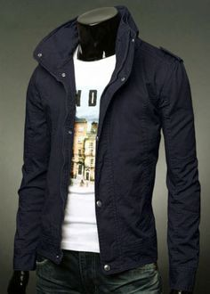 New-Mens-Slim-Fit-Casual-Zipper-Button-Top-Design-Military-Jackets-Rider-Coats