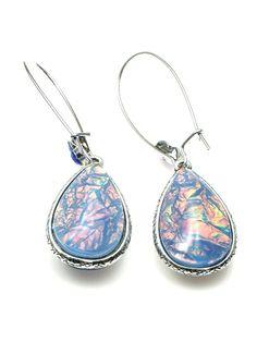 Blauwe oorbellen (hanger) tweezijdig te dragen #oorbellen