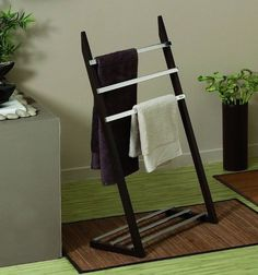 Towel Rail Chrome Dark Wood Bathroom Metal Shelf Floor Standing Allibert in Home, Furniture & DIY, Bath, Towel Rails   eBay
