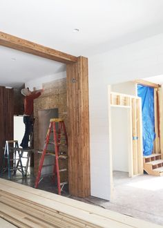 Kyle working on shiplap walls in a tricky corner of the barn Modern Farmhouse Style, Farmhouse Decor, Small House Decorating, Decorating Ideas, Installing Shiplap, Cabin House Plans, White Shiplap, Plank Walls, Bathroom Remodeling