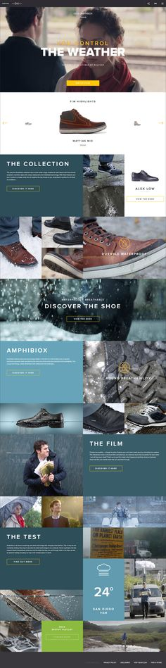Nice modern lifestyle based landing page for Amphibiox Geox. Does a great job on highlighting the value behind the shoes and telling a story
