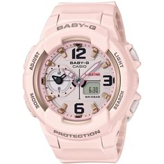 G-Shock Women's Analog-Digital Baby-g Pink Resin Strap Watch 49mm... ($120) ❤ liked on Polyvore featuring jewelry, watches, pink, g shock wrist watch, pink watches, pink jewelry, g shock watches and analog digital watches
