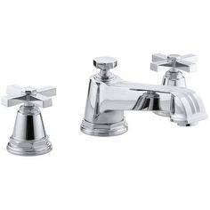 Kohler Pinstripe Deck-Mount Bath Faucet Trim for High-Flow Valve with Cross Handles, Valve Not Included Finish: