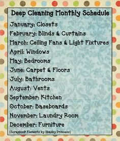 Monthly Deep Cleaning Schedule. Spring (and Fall) Cleaning seem to take months to do, so why not officially spread out over the whole year.