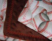 baby blanket--chocolate brown minky and baseball blanket