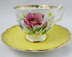 Aynsley Tea Cup and Saucer with Flowers, Yellow Saucer, Vintage Bone China, Crocus Shape