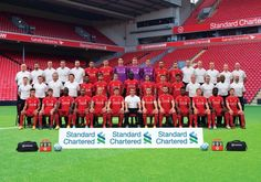 Liverpool players and staff took time away from their struggling Premier League campaign to pose for a traditional team photo at Anfield - although smiles appeared few and far between. Liverpool Fc, Liverpool Football Team, Liverpool Players, Best Football Team, Squad Photos, Team Photos, Lfc Wallpaper, Liverpool Wallpapers, Image Foot