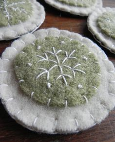 Christmas Ornaments- Green and White Snowflake Felt picture only