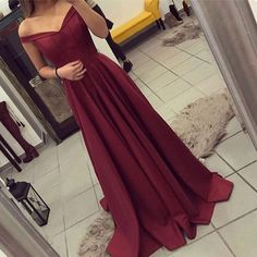A-Line Off-the-Shoulder Sweep Train Burgundy Satin Prom Dress with Pleats