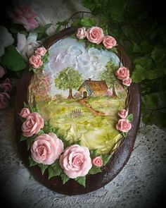 For the Love of Roses, hand-painted cottage. Artist - Teri Pringle Wood
