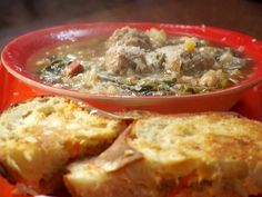 Mini Meatball Minestra and Grilled Provolone Recipe : Rachael Ray : Food Network - FoodNetwork.com