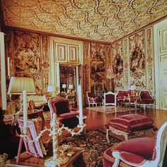 """Alex Papachristidis on Instagram: """"The Patino's living room baroque high style"""" Valance Curtains, Baroque, High Fashion, Living Room, Interior Design, Elegant, Furniture, Portuguese, Instagram"""