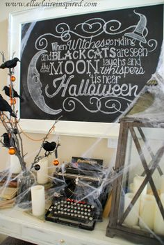 {Ella Claire}: Free DIY Halloween Chalkboard Template {tutorial} and Fun Vignette halloween decoration for classroom Diy Halloween Tree, Halloween Mantel, Halloween Signs, Holidays Halloween, Happy Halloween, Halloween Decorations, Halloween Party, Halloween Chalkboard Art, Halloween Stuff