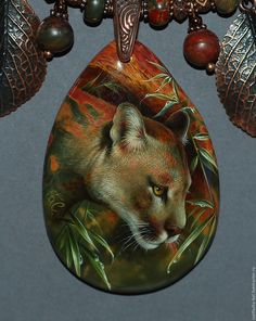 Купить Пума - комбинированный, лаковая миниатюра, живопись маслом, живопись на камне, авторская ручная работа