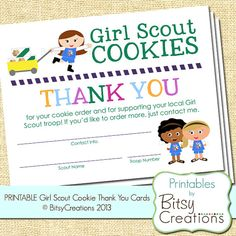 Daisy Girl Scout Cookie Thank You Printable by BitsyCreations,