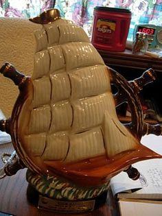 1980 Jim Beam decanter Bottle Sailing ship wheel Liquor Bottles, Perfume Bottles, Ship Wheel, Jim Beam, Flasks, Decanter, Bourbon, Whiskey Bottle, Beams