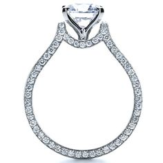 This dazzling engagement ring features a round brilliant cut diamond atop a unique white gold shank, accented by round bright cut set diamonds on both. Split Shank Engagement Rings, Beautiful Engagement Rings, Beautiful Rings, Diamond Engagement Rings, Old Jewelry, Women Jewelry, Dimond Ring, Wedding Jewelry, Wedding Rings
