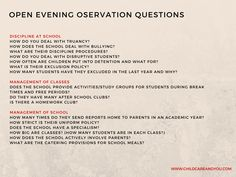 School open evenings can be daunting - go to www.childcareandyou.com to download a list of questions and pointers of what to keep an eye out for and questions to ask to get a good idea of what the school is about.