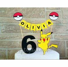 Pokemon Birthday Cake Topper Decoration with Pikachu Pokemon Birthday Cake, Birthday Cake Toppers, First Birthday Shirts, Adult Birthday Party, All Themes, Birthday Banners, First Birthdays, Pikachu, Decoration