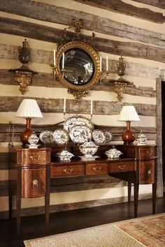 There is something actually very elegant about this combination. The whole ensemble relies chiefly on similar colours and metals to produce a successful and uncluttered effect. I think this is a wonderful interpretation of American styles during the Federal Period. The sideboard form, pioneered by Hepplewhite and Sheraton, have endured successfully since the earliest years of the 19th century.~
